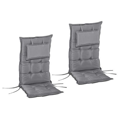 Outsunny Set 2 Cuscini da Esterno e Interno Imbottiti per Sedie a Schienale Alto in Poliestere, 50x120x9cm Grigio Scuro