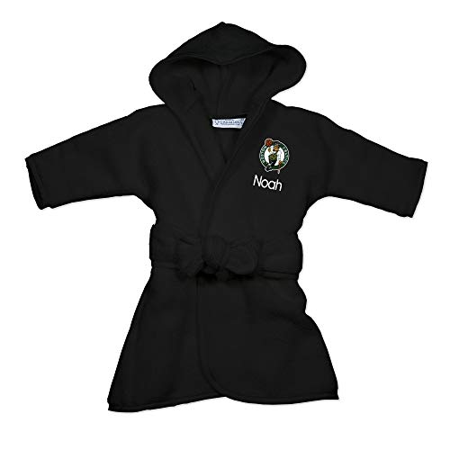 Boston Celtics Personalized Baby Bathrobe - Hooded Baby Robe with Embroidered Logo (Black)