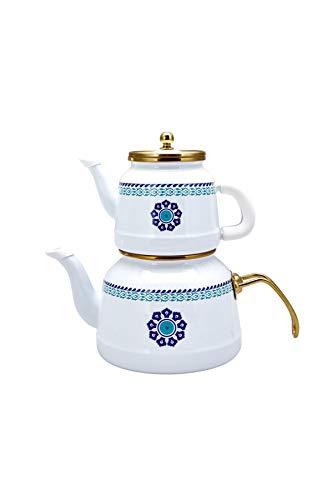 KARACA Teekessel Nostalgie Emaille Vintage Teekannen Teekessel Titan beschichtet Top Teekanne 2,5 Liter Untere Teekanne 1,1 Liter Caydanlik Made in Turkey