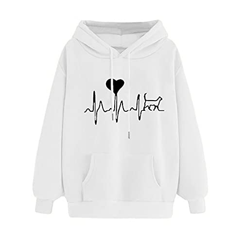 Uqiangy Womens Classic Hooded Sweatshirt Cute Print Hoodie Autumn Winter Casual Sport Pullover Tops With Pocket,M-XXXL (F-White, 14)