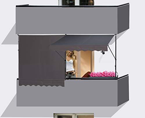 QUICK STAR 2 Stück Klemmmarkise 200x130cm GRAU Balkonmarkise Sonnenschutz Terrassenüberdachung Höhenverstellbar von 200-290cm Markise Balkon ohne Bohren