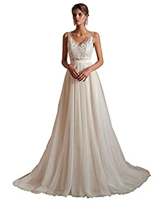 Ikerenwedding Women's V-Neck A-line Lace Tulle Long Beach Wedding Dresses for Bride (US2, Ivory-2 (Champagne Lining))