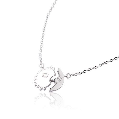 Epinki Plata de Ley 925 Mujer Colgante Collar Clavícula Cadena Estrella Luna Collar Plata