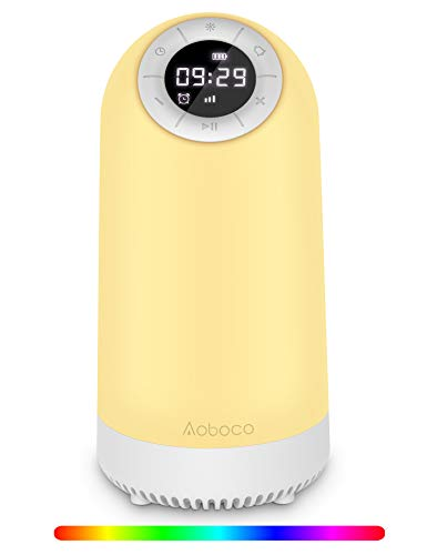 Aoboco Bluetooth Speaker Night Light, Touch Control Bedside Lamp Alarm Clock Timer, Wireless Speaker, 3-Level Warm Lights&14 Colors LED Table Lamp, Best Gift for Adult, Teens, Kids, Boys and Girls