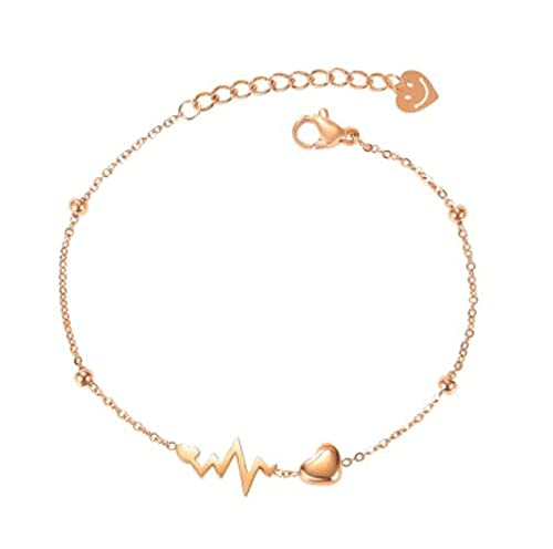 MENGHUA Pequeño electrocardiograma fresco titanio acero pulsera nicho bosque amor pulsera para novia 1103-rosa pulsera de oro