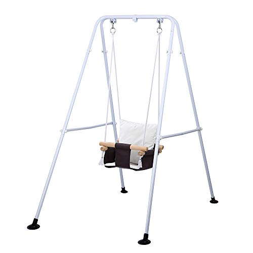 Taleco Gear Toddler Swing, Outdoor Indoor Swing Set with Safety Canvas Cushion Seat, Baby Swings for infants, Swing Sets for Backyard, Swingset for Kids, Toddlers Infants and Babies