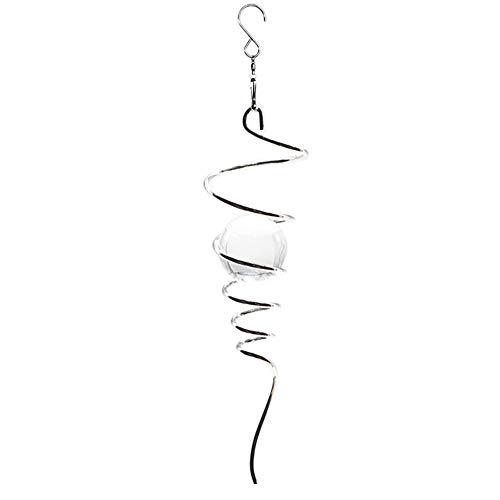 Windspiel / Windspiel, spiralförmig, für drinnen und draußen, Dekoration aus Edelstahl, Glaskugel mit drehbarem Haken, 27,9 cm