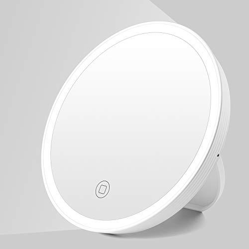 Kasimir Kosmetikspiegel mit Licht Schminkspiegel mit LED Beleuchtung Make Up led Reise Spiegel - USB-Aufladung Touch-Screen - Runden, Weiß