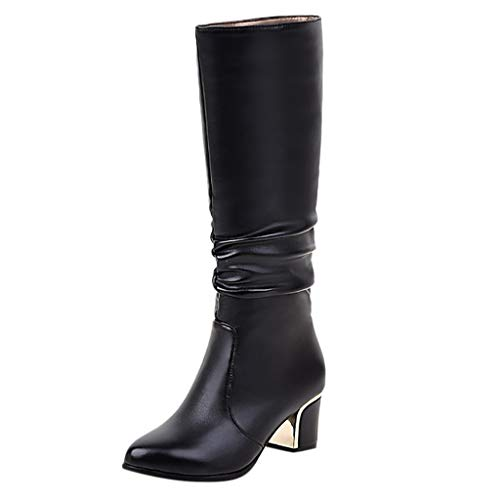 TEELONG Botas altas para mujer, color sólido, sexy, de tacón alto, cálidas, para invierno, para nieve, color negro, talla 4, 5, 6, 7, 8, Reino Unido
