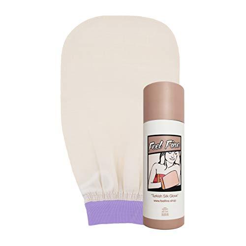 Feel Fine Gant exfoliant pour le corps et le visage en 100 soie, gant de bain, exfoliant pour le corps et les femmes, hommes, douche, spa