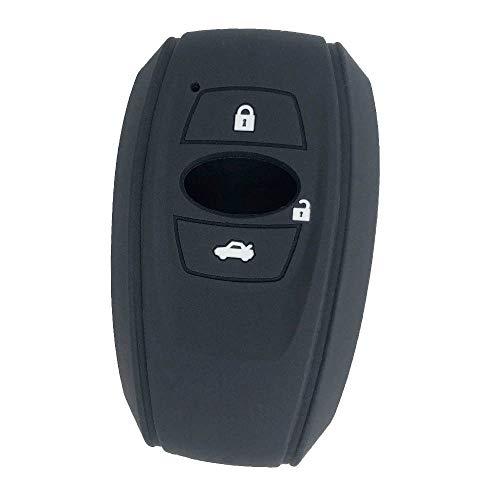 【ZIAN】 スバル 車用 スマートキーカバー シリコン製三つボタン スマートキーケース スバル レヴォーグ レガシィ フォレスター B4 インプレッサ G4 WRX S4 STI XV スマピタくん K15 など 専用設計(MY-SBR3J) (ブラック)