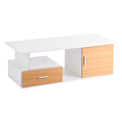 Tv-kast, houten tv-tafel, salontafel, woonkamertafel, tv-meubel, bijzettafel, houten tafel met vakken en klapdeuren, voor woonkamer, slaapkamer en hotel, 110 x 38 x 50 cm