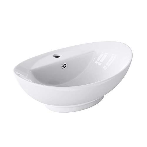 BTH: 59x39x21cm Aufsatzwaschbecken Brüssel302 aus Keramik inkl. Nano-Versiegelung/Abperl-Effekt Waschschale Waschbecken
