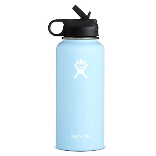 Hydro Flask Wide Mouth Water Bottle, Straw Lid, Old Style Design - 32 oz, Frost
