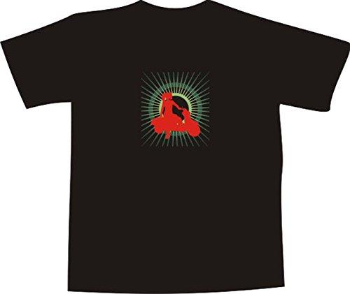 Black Dragon - Camiseta E416 – Logo/Gráfico – Diseño minimalista – Retro Disko – Silueta de mujer con Vespa – Camiseta divertida hombre mujer fiesta carnaval regalo trabajo – Estampado