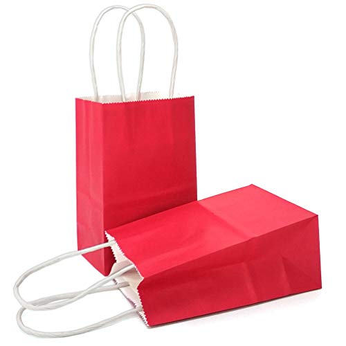 AZOWA Gift Bags Mini Small Kraft Paper Bags with Handles (4 x 2.4 x 6 in, Red, 12 Pcs)