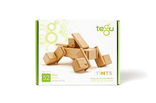 52 Piece Tegu Original Magnetic Wooden Block Set, Tints