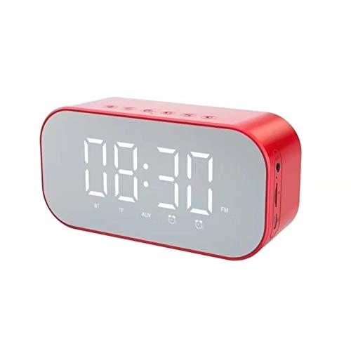 EIGHTT Altavoz Wireless Subwoofer Reloj Despertador S5 al Aire Libre Mini Wireless pequeño Equipo de música Reloj Despertador Digital (Color : Red)