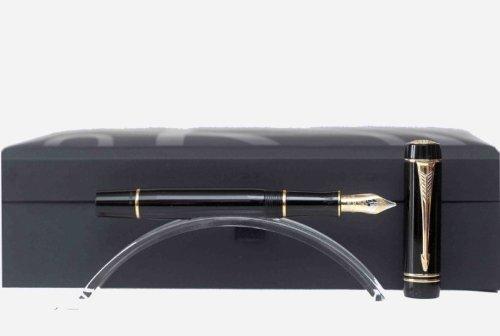 Parker - Duofold: Penna Stilografica Mini Nero GT, Pennino Fine