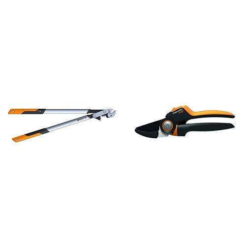 Fiskars PowerGearX Amboss-Getriebeastschere für trockenes und hartes Holz, Länge 80 cm & PowerGear X Amboss-Gartenschere mit Rollgriff für trockene Zweige und Äste, Länge: 22,5 cm