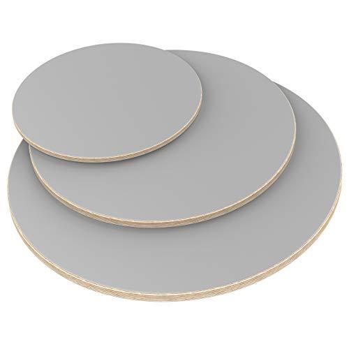 AUPROTEC Tischplatte 18mm rund Ø 1100 mm grau Multiplexplatte melaminbeschichtet von 20cm-148cm auswählbar runde Sperrholz-Platten Birke Massiv Multiplex Holz Industriequalität