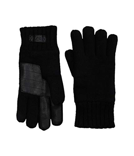 UGG Knit Gloves with Tech Leather Palm Black LG/XL