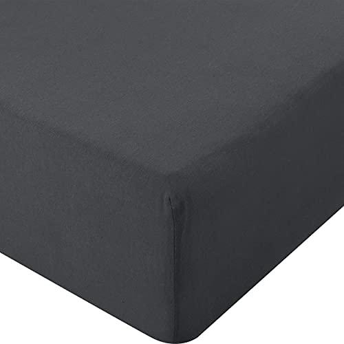 Utopia Bedding - Drap-Housse en Jersey - Polycotton - Poche Profonde de 35 cm (180 x 200 cm, Anthracite)