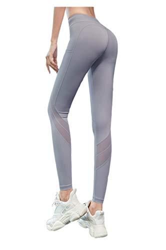 BLACK ELL Leggings para Running Training,Leggings Yoga de Gran Elásticos,Pantalones de Fitness de Cintura Alta Que levantan la Cadera, Pantalones de Yoga Ajustados elásticos-Gris_L