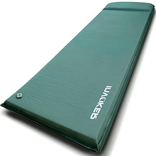 INVOKER Camping Sleeping pad – 3inch UltraThick Elasticity Foam Fast Self-Inflating Insulated Durable Camping Mat with Pillow for Tent Backpacking Traveling and Hiking Air Mattress(Green)