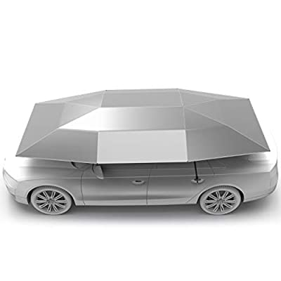 Rooftop Tent, Automatic Folding Remote Control Car Umbrella with Removable Charger, Multifunction Portable Auto Protection Car Tent Sunshade, Movable Carport Canopy for Outdoor Camping Tent(Silver)