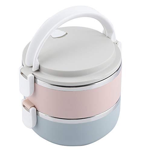 Solomi Pranzo Termica di Sicurezza - Bento Box, in Acciaio Inox Portatile Termica Bento Box Lunch Box (3 Tipi) (Taglia : 2 Layers)