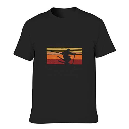 Camiseta de algodón para hombre, disfruta de esquiar, sabes cosas, divertida, de alta calidad, con impresión del alfabeto negro XXXXL