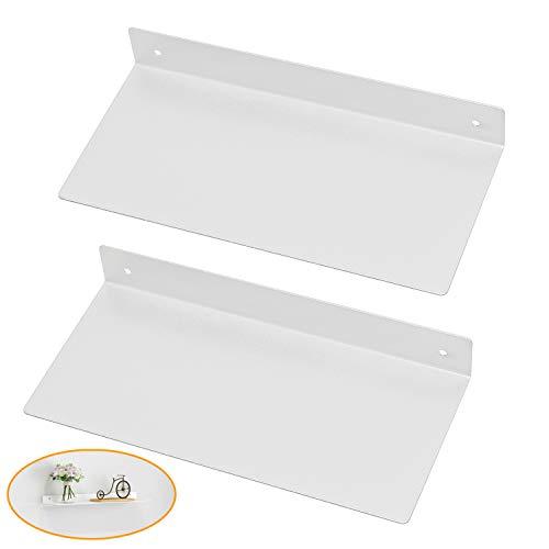 KWESOR - Estantería flotante de metal de 12 pulgadas, resistente para montar en la pared, moderno rústico diseño de casa rústico para baño, oficina, hogar (2 unidades, negro), Blanco, 30,48cm, 2