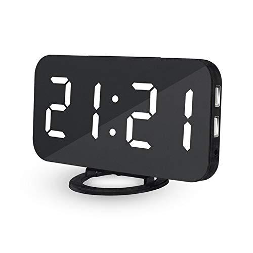 shenlanyu Despertador Espejo Digital Carga Tabla electrónica posponer la luz Ajustable automática White