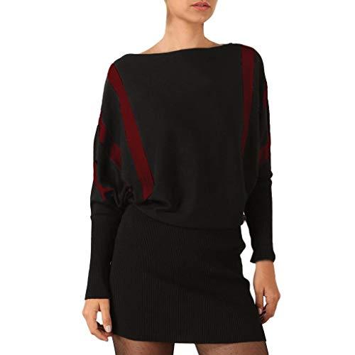TEELONG Kleider Damen Herbst Streifen Spleißen Langarm O-Ausschnitt Strickkleid Casual Mini Dress Ballkleid Partykleid Cocktailkleid(XL, rot)