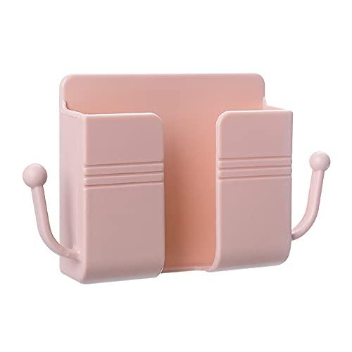 Organizador de carga de teléfono móvil montado en la pared Control remoto Caja de almacenamiento Soporte de enchufe de teléfono Soporte Estante de almacenamiento de pared Estante de...