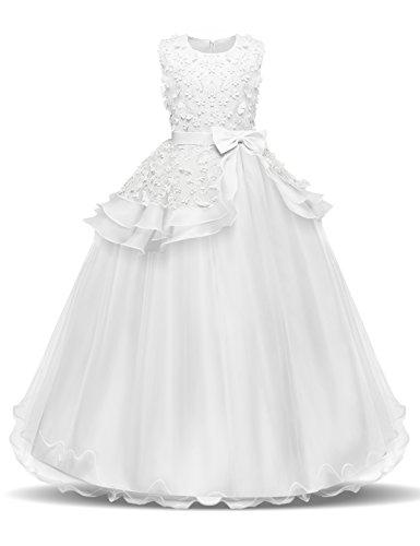 NNJXD Madchen Armellos Stickerei Prinzessin Festzug Kleider Abschlussball Ballkleid, Weiß, 8-9...
