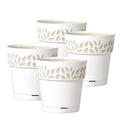 Kreher 4 Stück Pflanztöpfe CLOE Hochwertiges 3D-Design in leicht Matter Ausführung mit integrierten Wasserspeicher (M, Weiß)