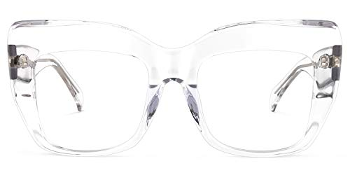 Zeelool Charmaine ZOA01901 Damenbrille mit Katzenaugen-Effekt, Blau, Transparent (Zoa01901-02 Crystal), Large