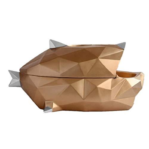 ZYING Tejido de Resina Caja- Escultura BigMouth Pescado y Decoración, Adornos Creativo del almacenaje de Inicio de Estar y Comedor Regalos Hechos a Mano Decoración (Color : Gold)