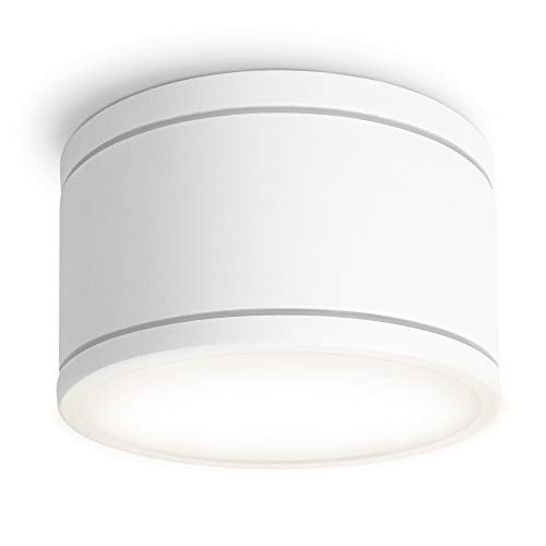 SSC-LUXon CELI-WX flacher LED Strahler Aufputz IP44 für Bad & Außen mit LED GX53 neutralweiß 5,5W - Deckenspot weiß rund 230V