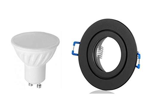 Lichtidee 8 x Led Feuchtraum Einbaustrahler Spot Strahler IP44 schwarz matt rund mit 6 Watt Led warmweiss GU10 Fassung Anschluß 230Volt