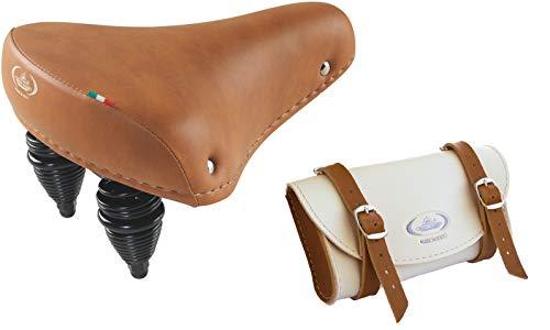 Montegrappa - Selle originale ultra douce en cuir synthétique modèle 013 (miel) + sac de rangement mod. 0016 (Crème/Miel)