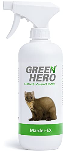 GreenHero®, spray Marder-Ex contro i morsi delle martore, 500ml, repellente anti-martore per l'auto, con oli essenziali naturali come principi attivi, repellente spray con effetto barriera