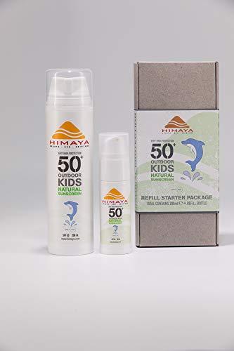 HIMAYA Bio Sonnenschutz (Kids SPF50+, Pack 200ml)  Wasserfeste Schweißfeste   Nachfüllbar   Sport Sonnencreme   Nicht Nano Zink   Natürliche Inhaltsstoffe Riffsicher UVA UVB Schutz   Umweltfreundliche