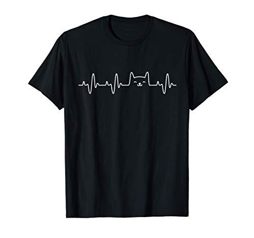 Cat Heartbeat Shirt Love Cats Women's Girls Cat Lover TShirt T-Shirt