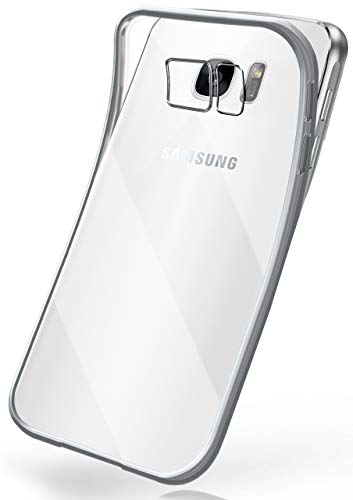 moex Transparente Silikonhülle im Chrome-Style kompatibel mit Samsung Galaxy S7   Flexibler Schutz mit Hochglanz Metallic Rahmen, Silber