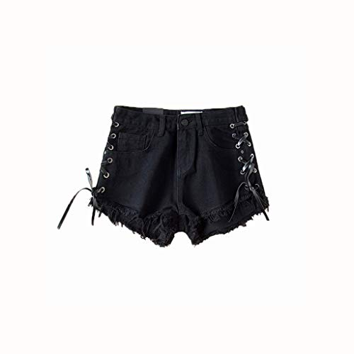 HLD Europa en de Verenigde Staten windzijde bandage denim shorts vrouwelijke zomer slank hoge taille zak hip hot pants zwarte rand wijde pijpen broek Shorts (Color : Black, Size : S)