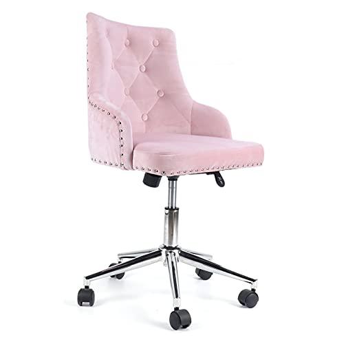 Gmkjh Dressing Chair, Modern Velvet Fabric Computer Desk Chair Adjustable Home Office Furniture Supplies Pink