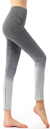 RUNNING GIRL Ombre Yoga Pants Ultrasoft Performance Active Stretch High Waisted Running Leggings (2015,L/XL, 1015Ombre Grey)